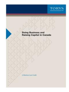 Doing Business and Raising Capital in Canada - …