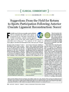 Suggestions From the Field for Return to Sports ...