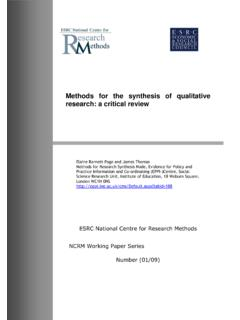 Methods for the synthesis of qualitative research: a ...