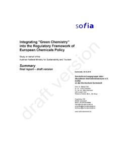 Integrating Green Chemistry into the Regulatory Framework ...