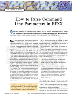 How to Parse Command Line Parameters in REXX