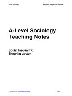 Social Inequality: Theories Marxism - Sociology