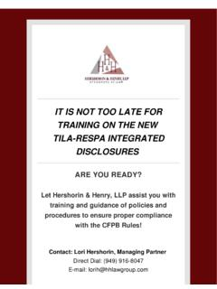 DISCLOSURES TILA-RESPA INTEGRATED TRAINING …