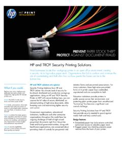 HP and TROY Security Printing Solutions
