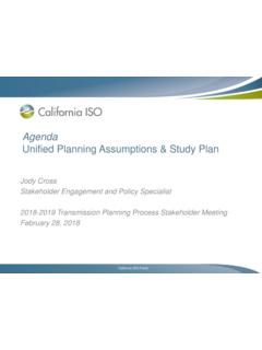 Agenda Unified Planning Assumptions & Study Plan