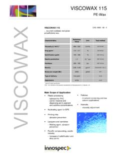 VISCOWAX 115 Product Data Sheet - Innospec