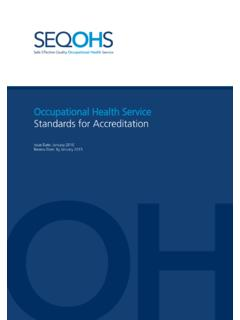 Occupational Health Service Standards for Accreditation