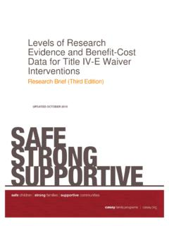 Levels of Research Evidence and Benefit-Cost Data …