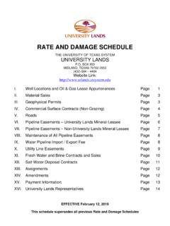 RATE AND DAMAGE SCHEDULE - University Lands
