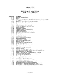 CHAPTER 10 RELOCATION ASSISTANCE TABLE OF CONTENTS