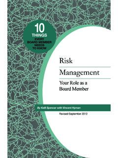 EVERY BOARD MEMBER NEEDS TO KNOW Risk Management