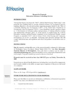 RIHousing Request for Proposals (RFP) Relocation ...