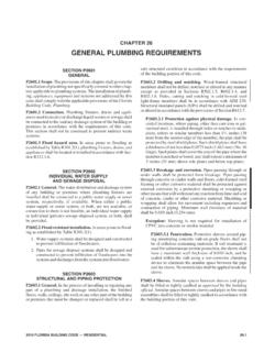 CHAPTER 26 GENERAL PLUMBING REQUIREMENTS