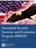 Homeland Security Exercise and Evaluation …