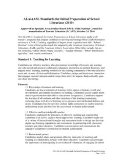 ALA/AASL Standards for Initial Preparation of School ...
