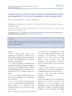 Complications of central venous catheter cannulation in ...