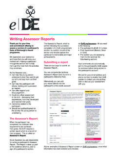 Writing Assessor Reports - The Duke of Edinburgh's Award
