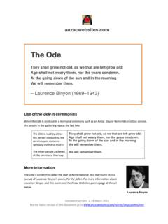 The Ode - Anzac Websites