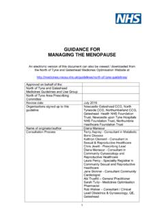 GUIDANCE FOR MANAGING THE MENOPAUSE
