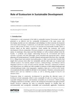 Role of Ecotourism in Sustainable Development - InTech
