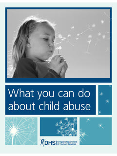 What you can do about child abuse - apps.state.or.us