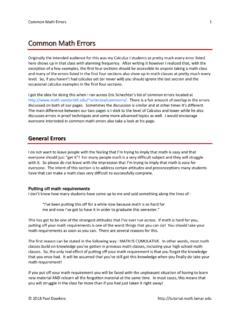 Common Math Errors - Lamar University