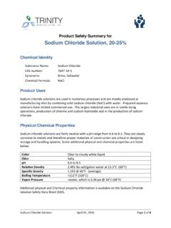 Product Safety Summary for Sodium Chloride …