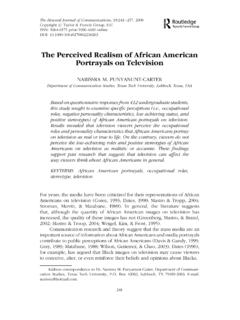 The Perceived Realism of African American Portrayals on ...