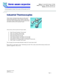Industrial Thermocouples - Thermo Sensors