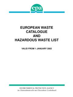 EUROPEAN WASTE CATALOGUE AND HAZARDOUS …