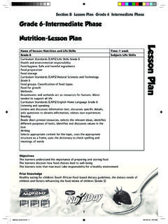 Grade 6-Intermediate Phase Nutrition-Lesson Plan - Danone