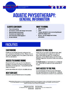 Weekend Casualt Serice AQUATIC PHYSIOTHERAPY: GENERAL ...