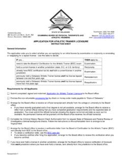 APPLICATION FOR ATHLETIC TRAINER LICENSURE