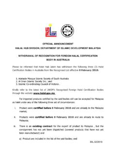 OFFICIAL ANNOUNCEMENT HALAL HUB DIVISION, …