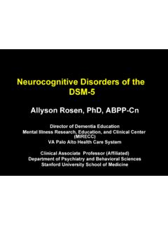 Neurocognitive Disorders of the DSM-5 - Stanford University