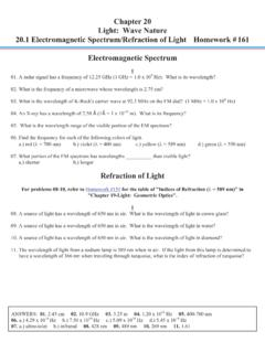 Chapter 20 Light: Wave Nature 20.1 Electromagnetic ...