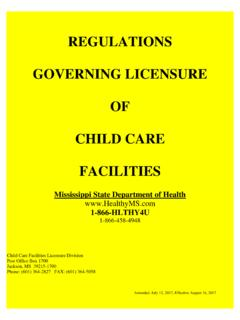 REGULATIONS GOVERNING LICENSURE OF CHILD CARE …