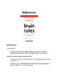 REFERENCES — BRAIN RULES BY JOHN MEDINA References