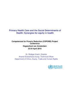 Primary Health Care and the Social Determinants of Health ...