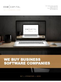 WE BUY BUSINESS SOFTWARE COMPANIES - ESW …