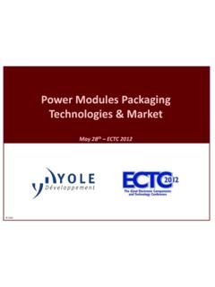 Power Modules Packaging Technologies & Market - ECTC