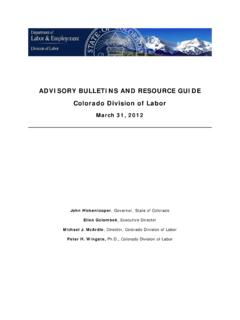 Advisory Bulletins and Resource Guide - colorado.gov