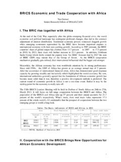 BRICS Economic and Trade Cooperation with Africa