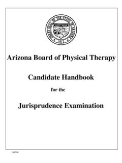 Arizona Board of Physical Therapy Candidate Handbook ...
