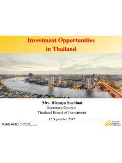 Investment Opportunities in Thailand - BOI