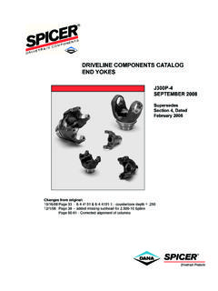 DRIVELINE COMPONENTS CATALOG END YOKES