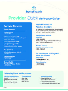 Provider Quick Reference Guide - Better Health