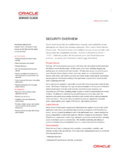 Oracle Service Cloud Security Data Sheet