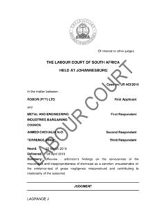 THE LABOUR COURT OF SOUTH AFRICA HELD AT …