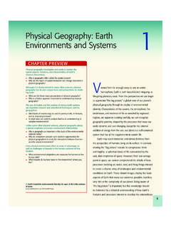 Physical Geography: Earth Environments and …